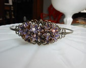 Antiqued gold purple flower headband- bridesmaif gift, one of a kind headband- christmas her