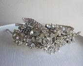 Couture rhinestone head piece, BRidal Sclptured headpice, Silver tiara  headband rhinestone, upcycled vintage, GENERATIONS