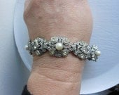Art deco rhinestone bracelet, vintage potmetal pearl rhienstone , antique heirloom, 1920