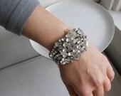 Clear floral wedding bracelet, spring bridal bracelet,  Rhinestone sculpture bracelet