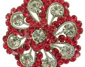 Red white rhinestone crystal white color swarovski brooch