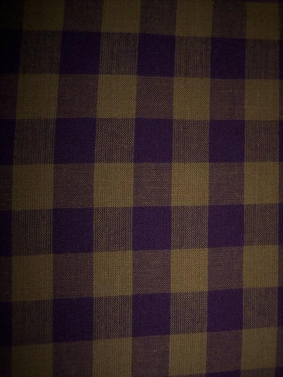 Kaffe Fassett Woven Homespun Check Fabric Gold and Burgundy