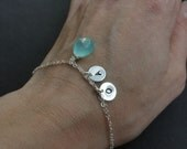 ADJUSTABLE Sterling Silver Bracelet, TWO INITIALS & Birthstone, aqua chalcedony, Keepsake, Bridesmaid gift favor, mother child