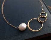 Gold circle necklace, pearl necklace, bridesmaid gifts, eternity necklace, entwined rings, sisters, best friends, circle necklace