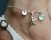 Sterling silver ANKLET, Custom Initial & Birthstone, Starfish charm, personalized jewelry, bridesmaid gift, beach wedding