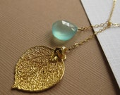 Gold Leaf  & Gemstone Necklace, Lariat style, Real Aspen Leaf, Aqua Chalcedony, bridesmaid gifts, bridal jewelry