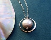 Sterling Silver Eternity Necklace, Pearl necklace, bridesmaid gifts, classic bridal jewelry, karma necklace, circle necklace