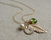 Gold Leaf Necklace, Custom birthstone & initial necklace, Personalized Feather necklace, Peridot, Bridesmaid Gifts, fall wedding