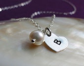 Small Single Initial Necklace, Minimal custom stamped heart charm and tiny pearl, sterling silver, bridal jewelry, bridesmaid gifts