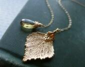 Topaz Necklace, birch leaf necklace, Lariat necklace, November birthstone, real leaf, leaf jewelry, gold filled