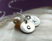Personalized Sterling Silver Initial & Birthstone Necklace, Two letters with pearl or gemstone, Best Friends, Husband Wife