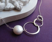 Sterling silver Eternity Circle & Pearl necklace, Past Present Future, Three Rings, Bridesmaid gift, Karma, infinity