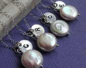 Bridesmaid Gifts, Four Pearl & initial necklaces, Freshwater Pearl Solitaire necklaces, coin pearls, silver bridesmaid necklaces