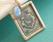 Special Delivery Necklace, Vintage European Postage Stamp with Labradorite, FREE SHIPPING WORLDWIDE
