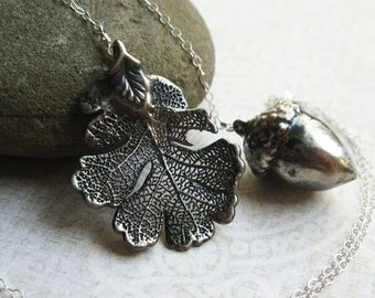 Oak leaf & Acorn Necklace, Lariat Necklace, Oxidized Sterling Silver, autumn fall fashion, oak leaf necklace, y necklace