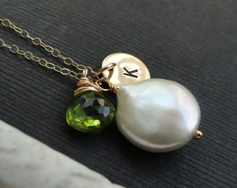 Personalized jewelry, hand stamped letter necklace with birthstone, coin pearl necklace, mothers neckace. gold filled, peridot necklace