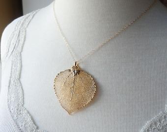Leaf Necklace, Large Gold Aspen leaf necklace, real LEAF JEWELRY, Aspen leaf necklace