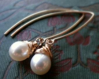 Pearl earrings, gold filled, bridesmaid gifts, wire wrapped pearls, modern pearl earrings, long pearl earrings, bridal jewelry, weddings