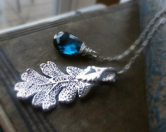 Oak Leaf Necklace, London blue topaz, Lariat necklace, real leaf necklace, leaf jewelry, blue topaz necklace, december birthstone