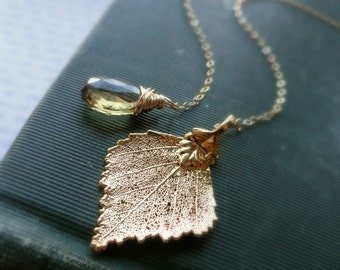 Gold Leaf Lariat Necklace, birch leaf necklace, Topaz, Bridesmaid Gifts, real leaf necklace, November birthstone, lariat