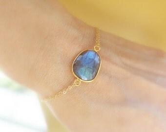 Labradorite bracelet, bezel set gold fill labradorite, blue flash, blue fire, adjustable skinny bracelet