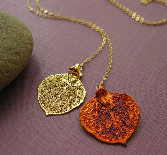 Genuine Aspen Leaves Lariat Necklace, Harbinger Lariat, Botanical Collection