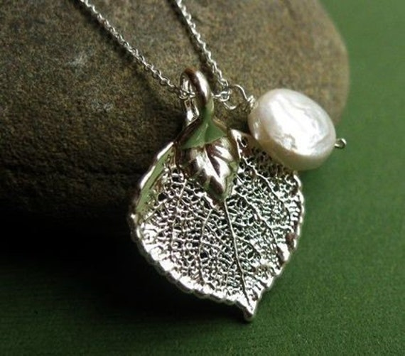 CHOOSE YOUR STONE Real Sterling Aspen Leaf and Freshwater Coin Pearl Necklace