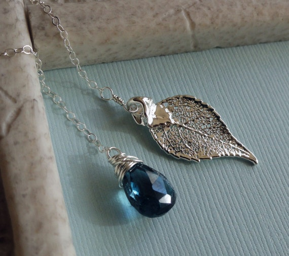 READY TO SHIP, Winter Blues Lariat Necklace, December birthstone, Blue Topaz, real laurel leaf, Sterling silver chain