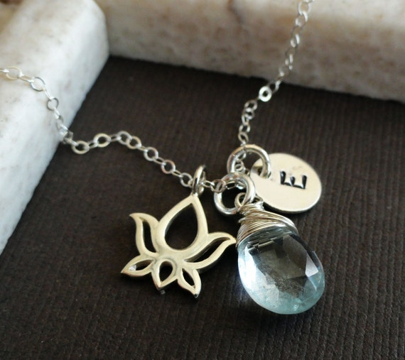 Personalized birthstone & initial necklace, sterling silver lotus necklace, bridesmaid gifts, yoga jewelry, customized jewelry