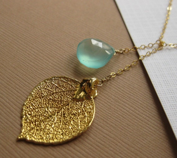 Gold Leaf  & Gemstone Necklace, Lariat style, Real Aspen Leaf, Aqua Chalcedony, bridesmaid gifts, bridal jewelry