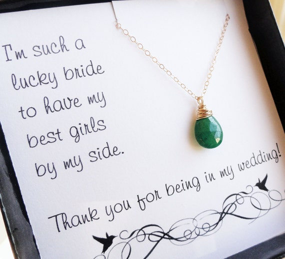 Bridesmaid thank you cards, thank you for being in my wedding, bridesmaid jewelry, emerald green, birthstone necklace for bridesmaids