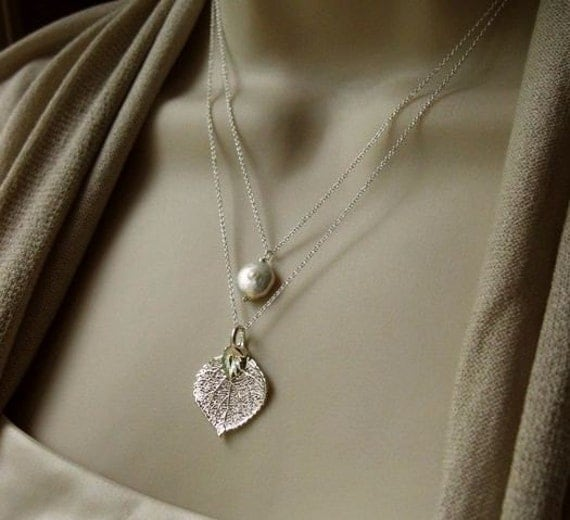 Layered Aspen Leaf Necklace, custom stone, leaf necklace,  Sterling Silver, Pearl, Bridesmaid Gift