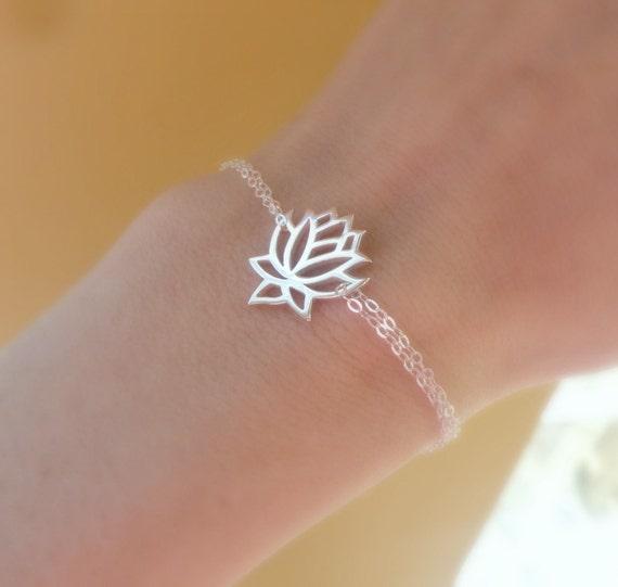 Silver Lotus bracelet, adjustable bracelet, lotus jewelry, yoga jewelry, zen jewelry, STERLING SILVER, gift for yogi, otis b jewelry