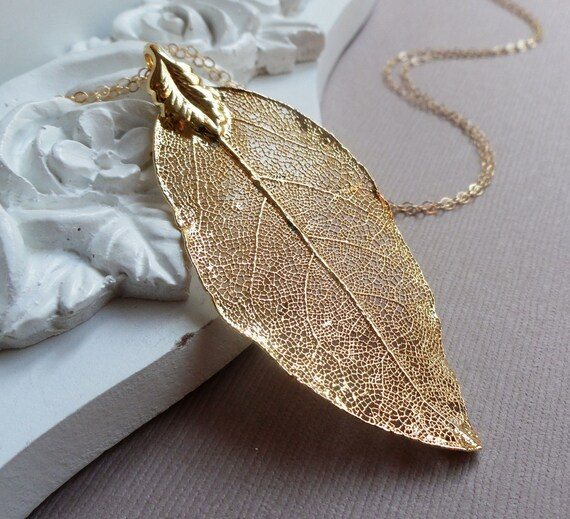 Long Leaf Necklace, Large Gold Laurel leaf necklace, real leaf necklace, LEAF JEWELRY
