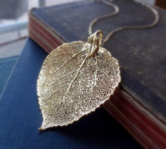 Gold Leaf Jewelry Gold Leaf Necklace Large Gold