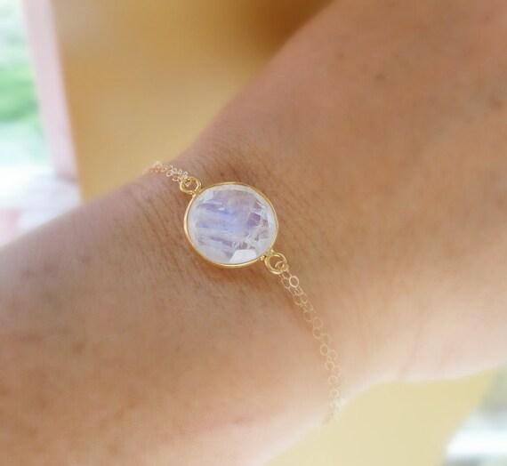 Moonstone bracelet, bezel set gold fill moonstone jewelry, blue flash, blue fire, adjustable skinny bracelet
