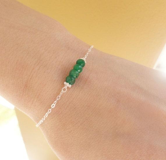 Delicate Green Emerald Bracelet, May birthstone, sterling silver adjustable bracelet, skinny bracelet, minimal