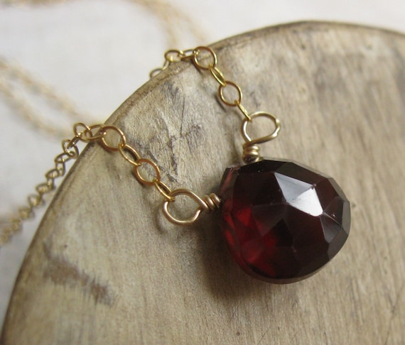 Luxe Solitaire Series, Claret, Faceted Garnet Cushion on 14K Gold Filled Chain, Necklace