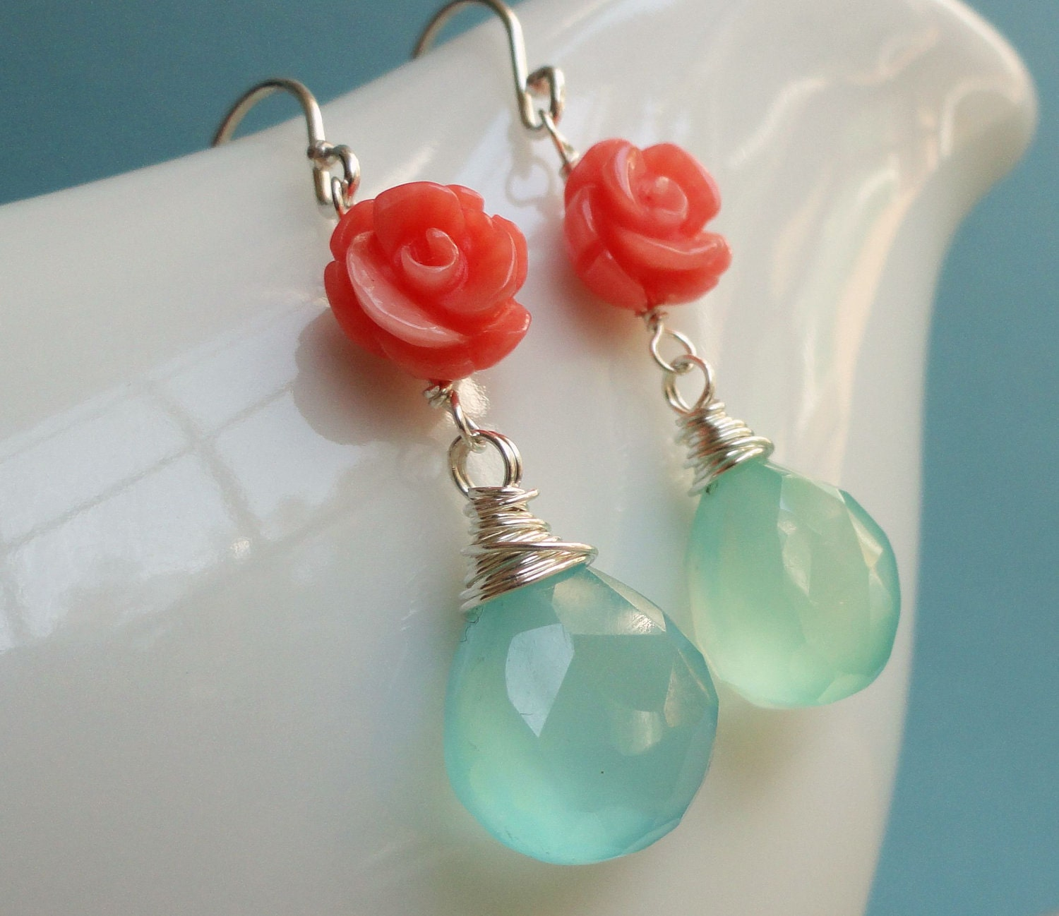 turquoise coral earrings aqua and coral by otisbjewelrygifts