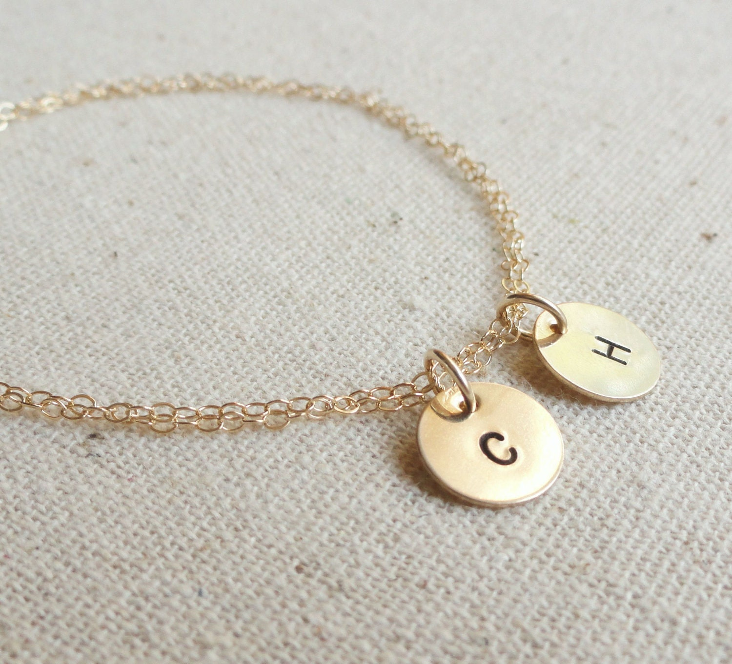 simple gold bracelet with two initials bridesmaid by