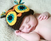 CUCO THE OWL handmade crochet Hat /  Newborn to 10 years old BEFORE BUY READ Shop Announcement
