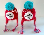 Crochet hats thing 1 and thing 2 with earflaps Handmade crochet Hat   0 to 5 years old