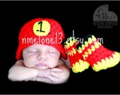 FIREMAN  BABY handmade crochet SET Hat diaper cover and boots 0 to 12 months years old