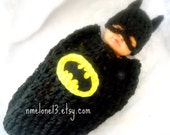 Batman Baby handmade crochet Set Hat and cocoon 0 to 12months