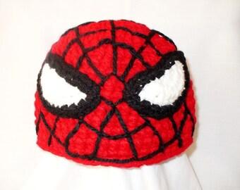 Spiderman crochet hat, Halloween spiderman costume hat, newborn costume hat, children halloween costume, Photo prop halloween costume
