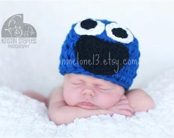 COoKiE  MoNsTeR Sesame Street  Handmade crochet Hat newborn to 6 years old