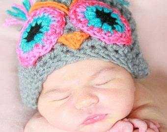 camila The owl handmade crochet Hat Newborn -to 5 years old