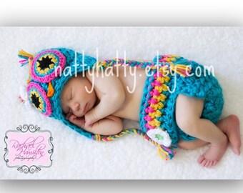 handmade crochet Hat  and Diapercover TITA  the  Owl  Newborn to 18 months