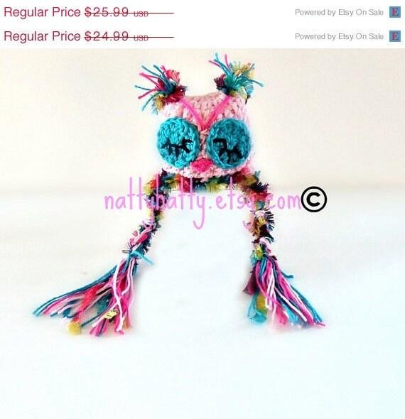 crochet Owl Hat   handmade Dormilona Pink Newborn to 5 years old