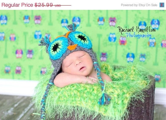 Crochet owl hat GrayBlue  Hat 0 to 5 years old